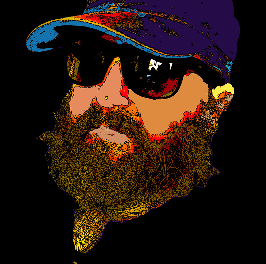 Man's bearded face, beard in a pony tail below chin with baseball cap and sunglasses cut out on black background