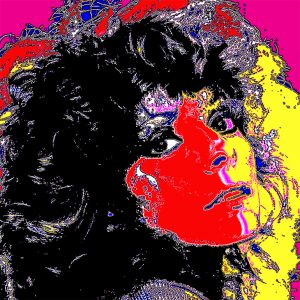 Young woman head and shoulder half of face bold bright red and other half bright yellow retro 80's style pop star head and shoulder