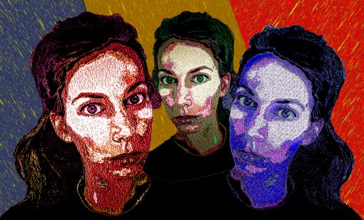 3 young women all with hair in a pony tail staring at the viewer triplets each a different color orange gold and purple
