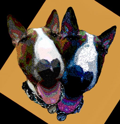 Two brown and white bull terrier faces happy expressions cut out on a yellow gold background both wearing chain collars