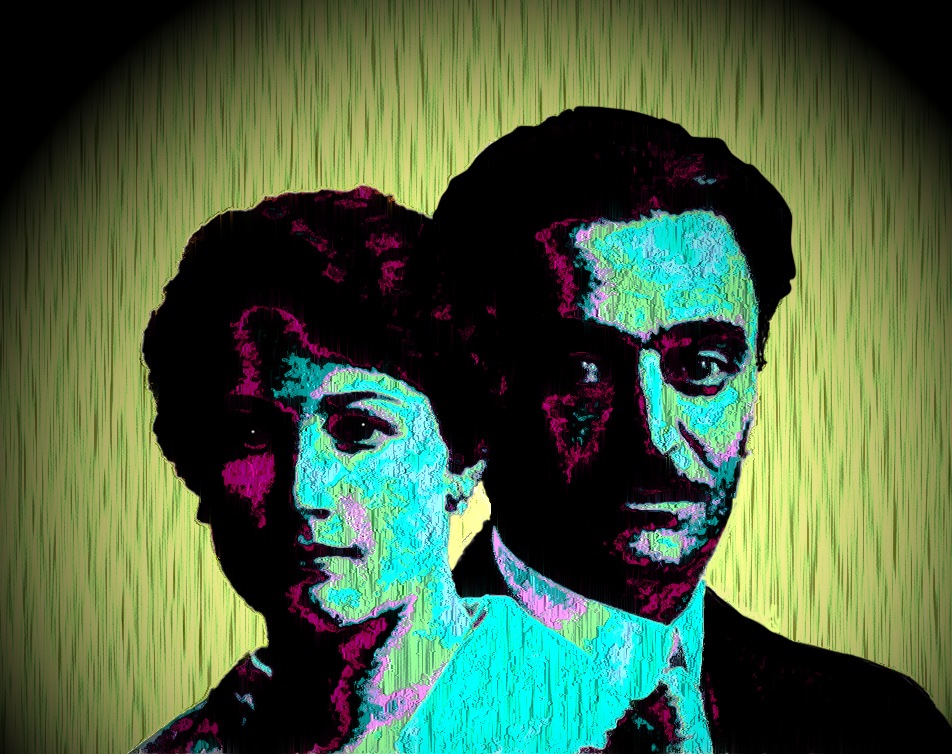 1920's wedding picture head and shoulder of bride and groom bold purple teal and yellow