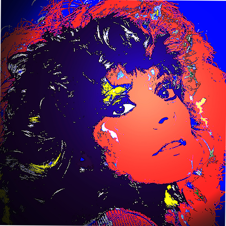 Young woman head and shoulder bold oranges blue and bright yellow retro 80's style pop star