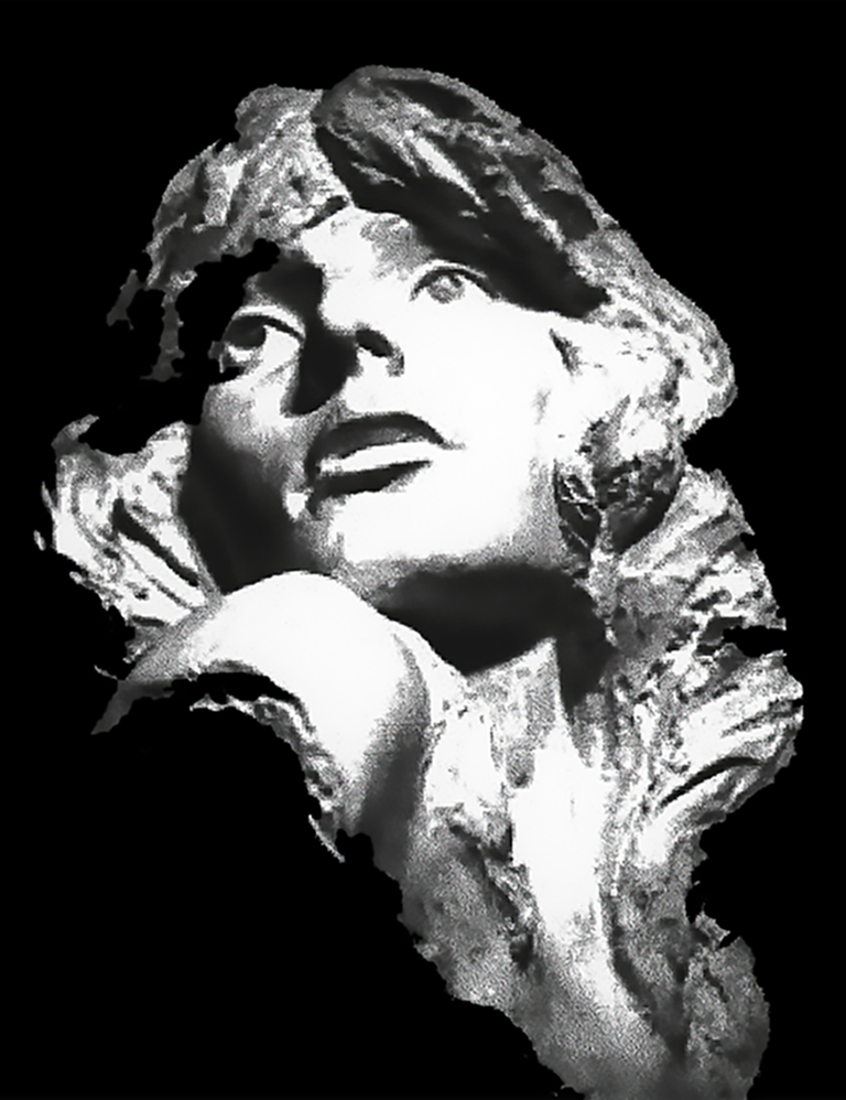 Larger than life self-portrait of artist white plaster cast sculpture 1979 young woman long hair looking over shoulder