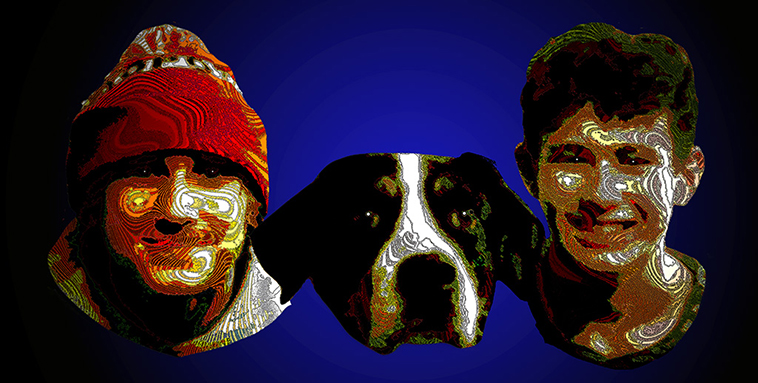 Two boys surrounding a Burmese Mountain dog faces only cut out against a blue background everyone smiling