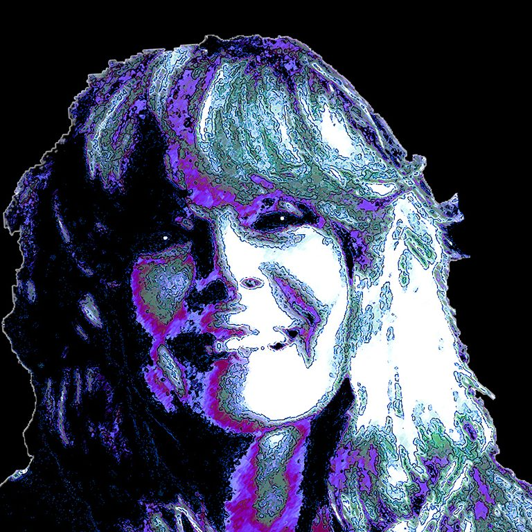 Woman with bangs and long hair purple white on black background